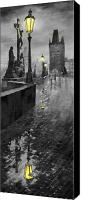 Prague Digital Art Canvas Prints - BW Prague Charles Bridge 01 Canvas Print by Yuriy  Shevchuk