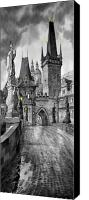 Prague Digital Art Canvas Prints - BW Prague Charles Bridge 02 Canvas Print by Yuriy  Shevchuk