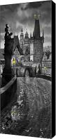 Prague Digital Art Canvas Prints - BW Prague Charles Bridge 03 Canvas Print by Yuriy  Shevchuk