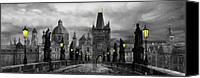 Prague Digital Art Canvas Prints - BW Prague Charles Bridge 04 Canvas Print by Yuriy  Shevchuk