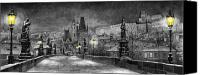 Old Prague Canvas Prints - BW Prague Charles Bridge 06 Canvas Print by Yuriy  Shevchuk