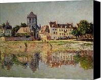 Vernon Canvas Prints - By the River at Vernon Canvas Print by Claude Monet