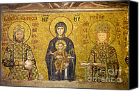 Byzantine Icon Canvas Prints - Byzantine Mosaic in Hagia Sophia Canvas Print by Artur Bogacki