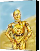 Desert Digital Art Canvas Prints - C3po Canvas Print by Russell Pierce