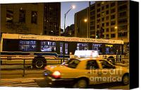 Speeding Taxi Canvas Prints - Cab and Bus Speeding on Michigan Avenue Canvas Print by Purcell Pictures