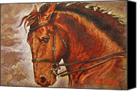 Handmade Paper Canvas Prints - Caballo I Canvas Print by Juan Jose Espinoza