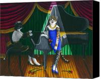 Singer Painting Canvas Prints - Cabaret Cats Canvas Print by Carol Wilson