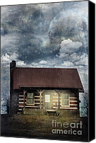 Log Cabin Canvas Prints - Cabin at Night Canvas Print by Stephanie Frey