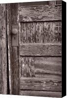 Grand Teton Canvas Prints - Cabin Door BW Canvas Print by Steve Gadomski