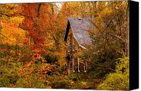 Log Cabin Canvas Prints - Cabin in the Fall Canvas Print by Keith Allen
