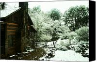 Cabin Canvas Prints - Cabin in the Snow Canvas Print by Adam LeCroy