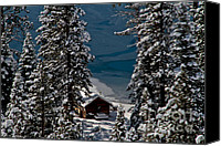 Snowed In Canvas Prints - Cabin In The Woods Canvas Print by Mitch Shindelbower