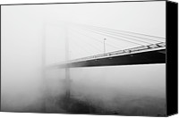 Cable Canvas Prints - Cable Bridge Disappears In Fog Canvas Print by Photos by Sonja