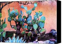 Santa Fe Canvas Prints - Cactus and Adobe Canvas Print by Charlie Spear