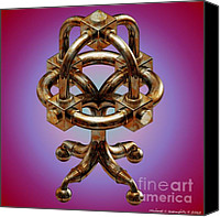 D.c. Digital Art Canvas Prints - C.A.D Sculpture No 13 Omega Block v7 Canvas Print by Michael C Geraghty