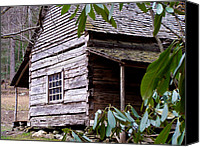 Cabin Window Canvas Prints - Cades Cove Cabin Canvas Print by Jim Finch