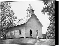 Grass Drawings Canvas Prints - Cades Cove Methodist Church Canvas Print by Lena Auxier