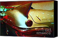 Made In The Usa Digital Art Canvas Prints - Cadillac Eldorado . Painterly Style Canvas Print by Wingsdomain Art and Photography