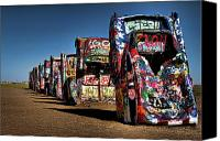 Colors Photo Canvas Prints - Cadillac Ranch Canvas Print by Lana Trussell