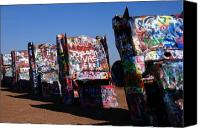 Colorful Print Canvas Prints - Cadillac Ranch on Route 66 Canvas Print by Susanne Van Hulst