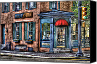 Corner Cafe Canvas Prints - Cafe - Cafe America Canvas Print by Mike Savad