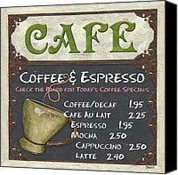 Coffee Canvas Prints - Cafe Chalkboard Canvas Print by Debbie DeWitt