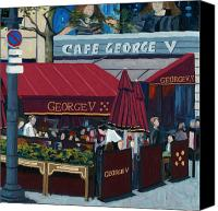 Red Wine Canvas Prints - Cafe George V Canvas Print by Christopher Mize