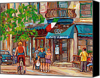 Resto Cafes Canvas Prints - Cafe Olimpico-124 Rue St. Viateur-montreal Paintings-sports Bar-restaurant-montreal City Scenes Canvas Print by Carole Spandau