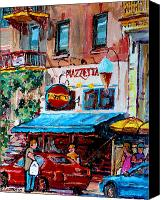 Resto Cafes Canvas Prints - Cafe Piazzetta  St Denis Canvas Print by Carole Spandau