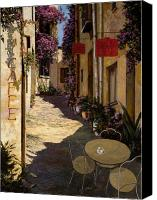 Red Canvas Prints - Cafe Piccolo Canvas Print by Guido Borelli
