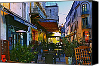Place Du Forum Canvas Prints - Cafe Terrace on the Place du Forum Canvas Print by Eric Tressler