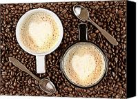 Latte Canvas Prints - Caffe Latte for two Canvas Print by Gert Lavsen