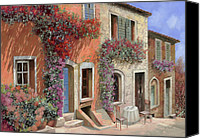 Streetscene Canvas Prints - Caffe Sulla Discesa Canvas Print by Guido Borelli
