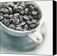 Coffee Cup Canvas Prints - Caffeine Canvas Print by Priska Wettstein