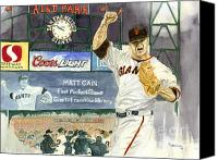San Francisco Giants Painting Canvas Prints - Cains Perfect Night Canvas Print by George  Brooks