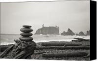 Olympic National Park Canvas Prints - Cairn on a beach Canvas Print by Olivier Steiner