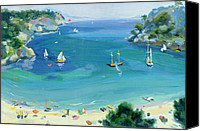Yachts Painting Canvas Prints - Cala Galdana - Minorca Canvas Print by Anne Durham