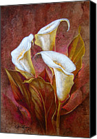 Handmade Paper Canvas Prints - Cala Lillies Bouquet Canvas Print by Juan Jose Espinoza