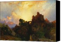 Ruin Painting Canvas Prints - Caledonia Canvas Print by Thomas Moran