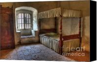 Historic Furniture Canvas Prints - California Mission La Purisima Bedroom Canvas Print by Bob Christopher