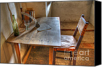 Historic Furniture Canvas Prints - California Mission La Purisima Desk Canvas Print by Bob Christopher