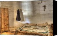 Historic Furniture Canvas Prints - California Mission La Purisima Private Quarters Canvas Print by Bob Christopher
