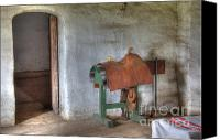 Historic Furniture Canvas Prints - California Mission La Purisima Saddle Room Canvas Print by Bob Christopher