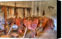 Historic Furniture Canvas Prints - California Mission La Purisima Saddle Shop Canvas Print by Bob Christopher