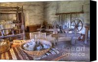 Historic Furniture Canvas Prints - California Mission La Purisima Weavers Studio Canvas Print by Bob Christopher