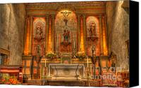 Historic Furniture Canvas Prints - California Mission Santa Barbara Alter Canvas Print by Bob Christopher