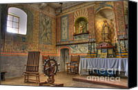 Historic Furniture Canvas Prints - California Missions La Purisima Alter Canvas Print by Bob Christopher