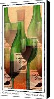 All Canvas Prints - California Vineyard Wine Bottle and Glass Canvas Print by Terry Mulligan