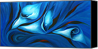 Blue Flowers Painting Canvas Prints - Calla in Moods Canvas Print by Uma Devi