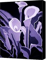 Calla Lily Mixed Media Canvas Prints - Calla Lillies Lavender Canvas Print by Angelina Vick